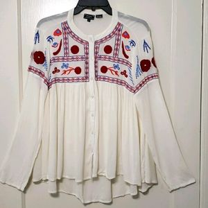Anandas Collection Boho Hippie embroidered top M